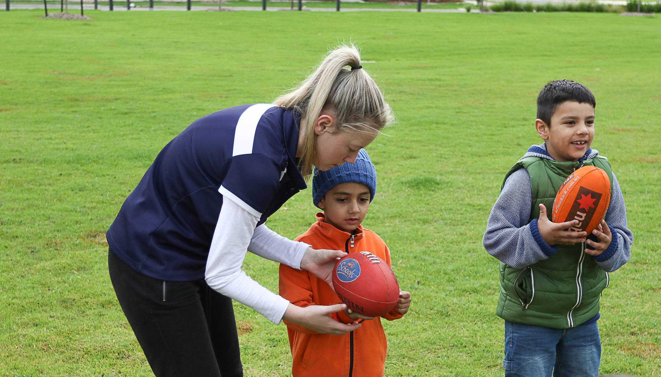 afl instructor with child