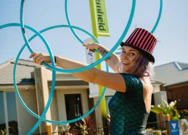woman with hula hoops